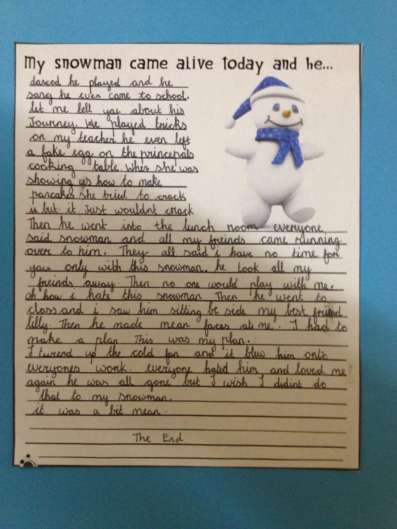Snowman creative writing